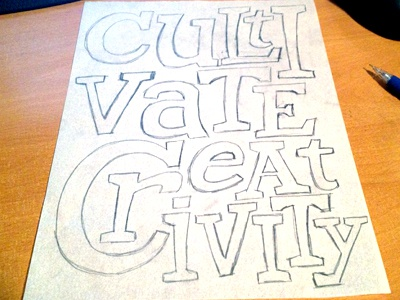 Cultivate Creativity lettering sketch