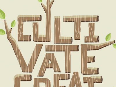 Cultivate Creativity wood leaves wood grain lettering block lettering brown tan green