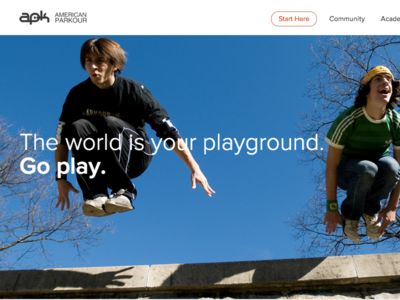 American Parkour - website progression