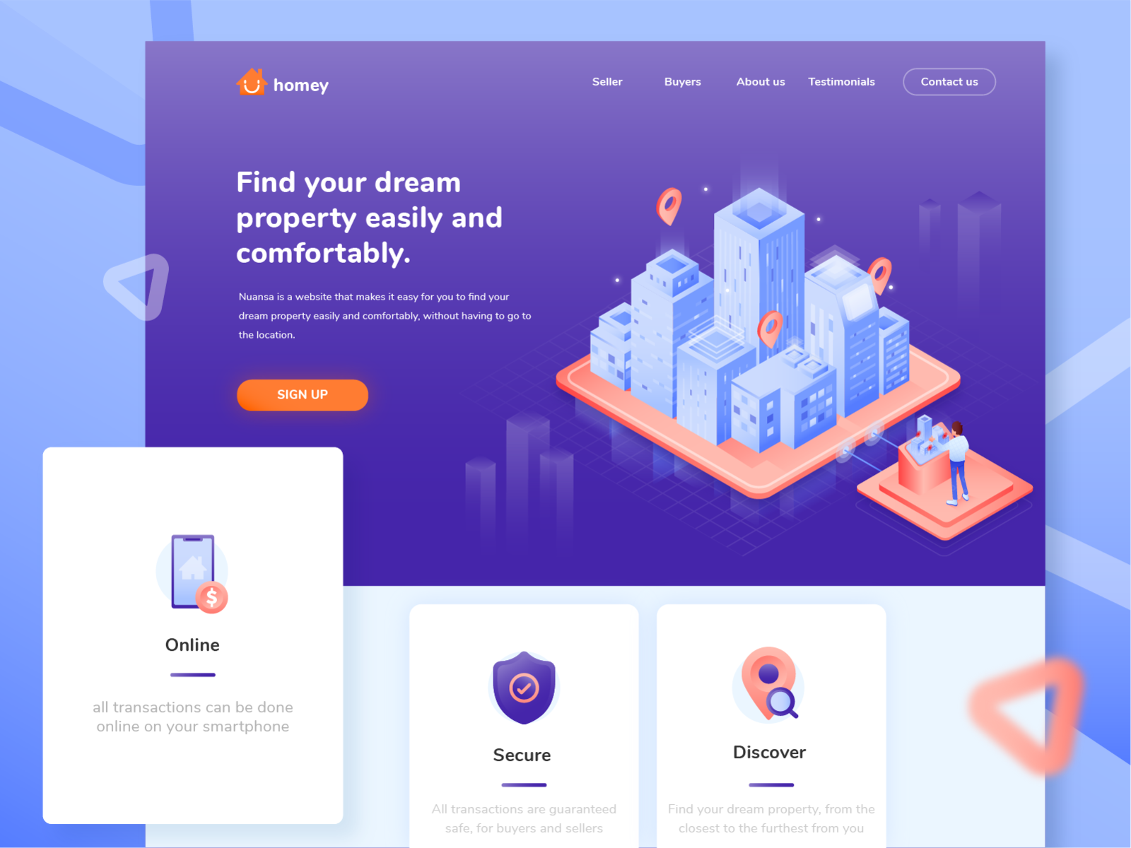 Hero Landing page isometric for real estate clean landign page header web property home real estate vector section ui isometric design isometric marketing hero flat peoples illustration noansa design business