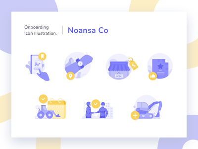 lease construction equipment Illustration for Onboarding sales marketing design peoples icon a day construction company noansa schedule icon dozer market building truck clock shop app illustration onboarding equipment construction lease