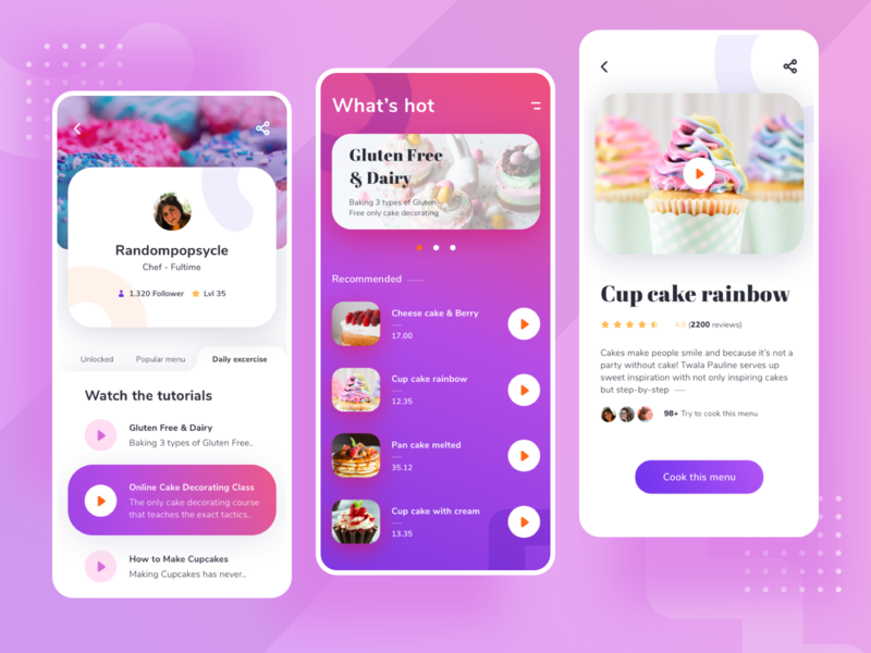 Pastry Apps - Your Cooking Inspiration slider details home profile ux noansa ios design ui lesson menu tutorial cup cheese gluten rainbow cake inspiration cooking pastry