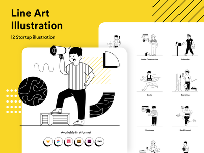 Startup Lineart Illustration KIT subscribe searching goals email developer marketing ui8 lines web startup kit lineart flat illustration character design flat  design website character design vector illustration