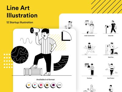 Startup Lineart Illustration KIT