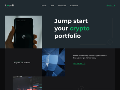 Lootmill - Cryptocurrency Company Landing Page website design product design web design design ui ux landing page website minimal exchange crypto currence crypto web crypto exchange crypto bitcoin crypto website