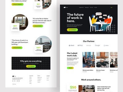Co-Working Space Landing Page Website Design Exploration. landing page website design ux ui coworking landing page coworking creative illustration website design product design minimal work spaces co working space co working office space