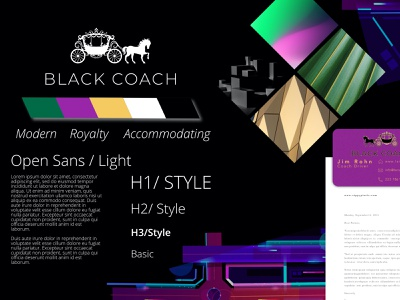 Black Coach Style Exploration, Theme Dark digital artwork app branding dark theme neon colors vectorart digital highway black coach ride sharing app driver app style guide accommodating royalty coach modern art direction branding design stylescape