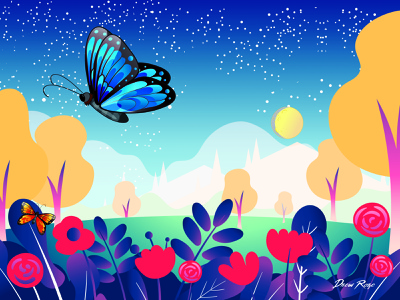 Dribbble Virtual Garden Rebound drew roze art direction mashups mashup vector illustration starry sky starry night night sky mountains meadow flower garden landscape butterfly vector vector graphics vector design vector art