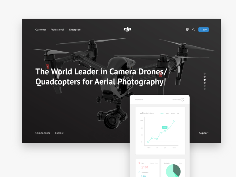 DJI Website with Insights App application design website design drone app drone website app design web design user experience user interaction user interface ui design