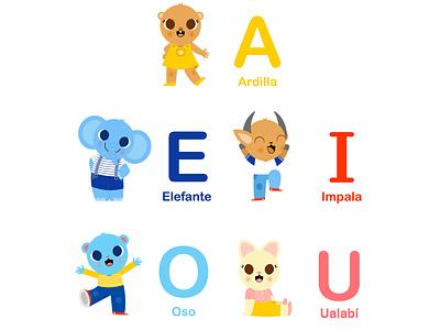 AEIOU for kids animals children childrens illustration digitalart vector illustrator illustration