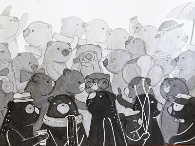 Little bears animals children childrens illustration illustration art ink handmade illustration