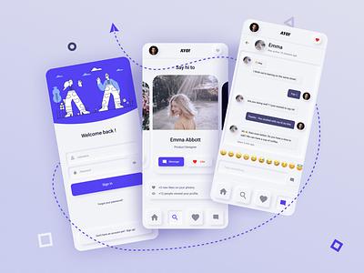 Ayo! Neumorphism in dating app ui ui desgin dailyui web design crossplatform mobile ui figma cards ui card sign in login chat dating app dating neumorphism ui neumorphism