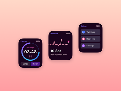 Apple watch fitness app healthcare exercises training figmadesign figma iwatch apple watch heart rate heartbeat fitness health