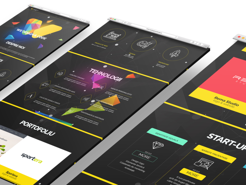 We Design & Code Mobile UI w yellow coding code node geometry color website web ui design design mobile ui