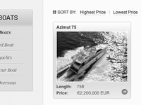 Boat listing wireframe