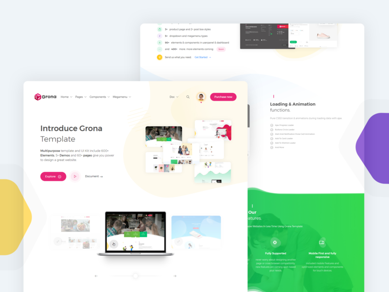 Grona template. Clean &  Multipurpose hello template color landing page design landing page landing product design bootstrap template ux creative illustration bootstrap 4 bootstrap ui template design