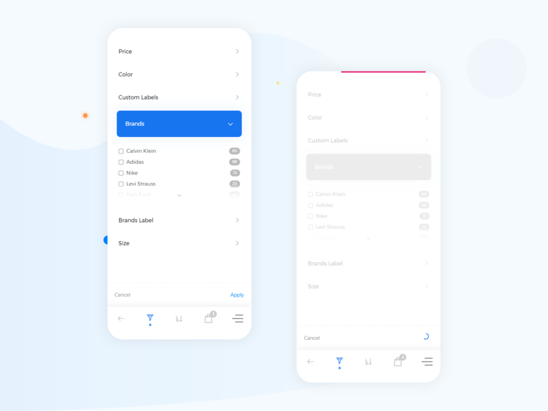 Products filter | app & responsive web view template shop app add to cart store shop page shop cart products progressbar loading bar loader animation loader product filter product filtration app design mobile ui mobile app mobile filter