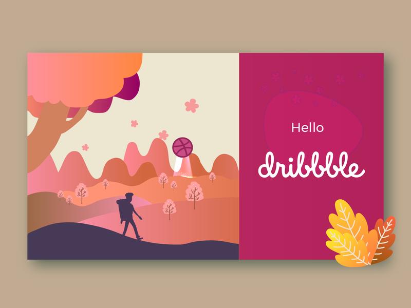 Hello Dribbble vector first shot welcome shot welcome hello dribbble hello dribble illustration design hello hellodribbble
