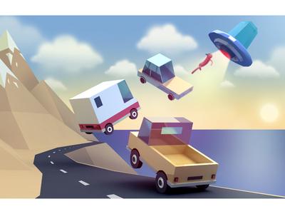 Alien attack 3d cgi 3dsmax cars illustration