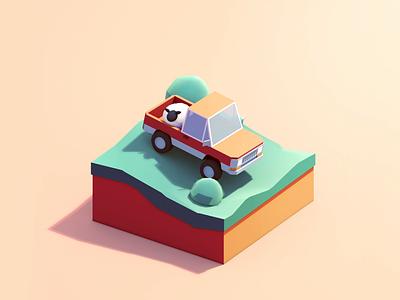 Bring Bonnie back to the Farm cinema4d car sheep trail pickup truck isometric 3d c4d animation illustration