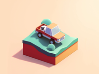 Bring Bonnie back to the Farm cinema4d car sheep trail pickup truck isometric 3d c4d animation illustration