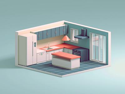 Kitchen Construction characterdesign character construction cinema4d architecture design interior kitchen isometric 3d c4d animation illustration