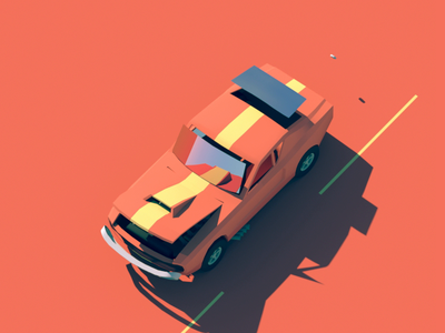 Track&Burn loop race game octane c4d custom illustration animation construction car