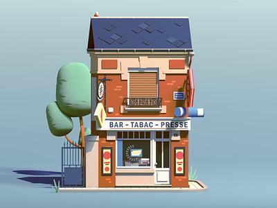 Bar-Tabac country octane cinema4d france village bar car 3d c4d animation illustration
