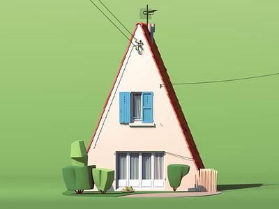 Suburban Pavilion house architecture c4d cinema4d octane dogs dog character design car 3d animation illustration