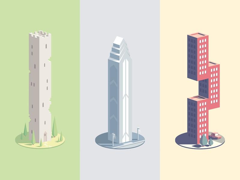 NeonMob Collection illustration isometric buildings neonmob skycraper design architecture
