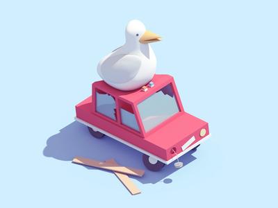 bird on car!
