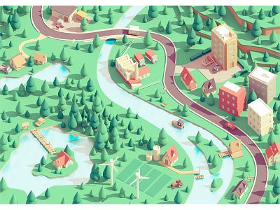 Small town c4d 3d village city town illustration