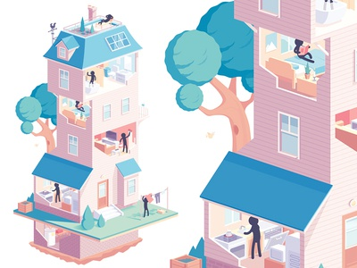 Huffington Post huffington post roof living room kitchen shower rooms isometric house illustration