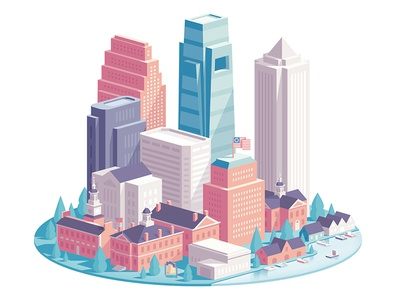NRG - PHILLY droga5 nrg town houses illustration city philadelphia philly
