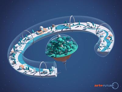 Space city architecture habitat habiter arte floating spaceship space city house c4d 3d illustration