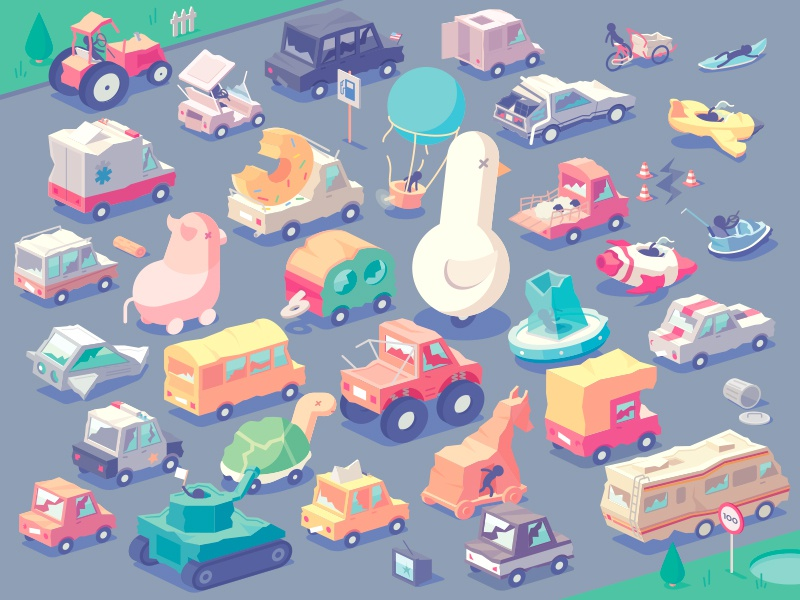 Stickman Rush - Vehicles (Broken version) dev game van broken truck cars car vehicles isometric vector illustration