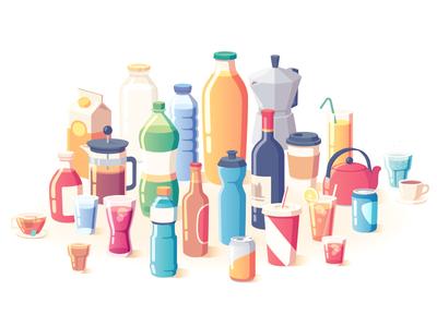 New Scientist juice orange tea coffee soda wine beer bottles drinks illustration