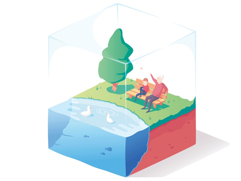 Park bite park nature lake characters isometric illustration