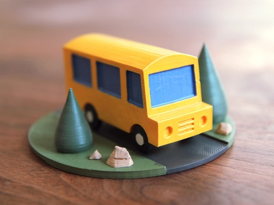 Bus Stage animation stop motion scene 3d printing print 3d bus illustration