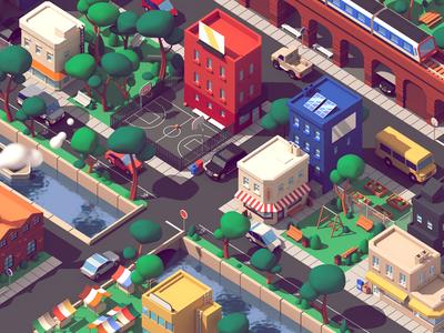 Lyft - City urban buildings city c4d 3d illustration