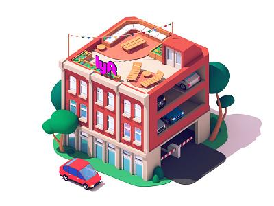Lyft - Building c4d 3d parking car lyft building architecture illustration