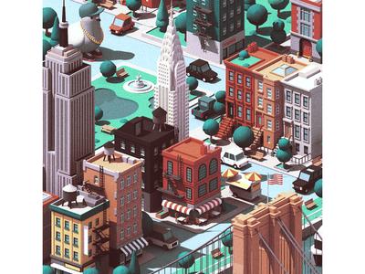 New York urban new york city nyc new york isometric 3d c4d illustration