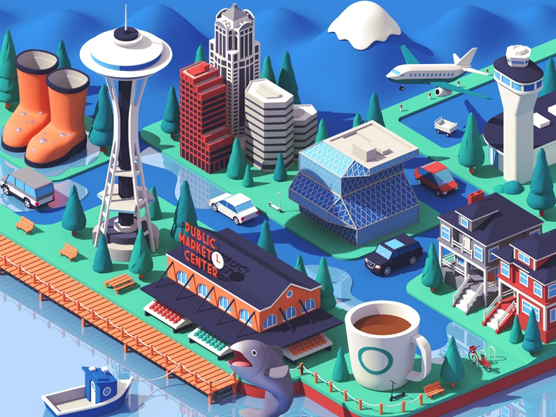 Lyft / Seattle city seattle usa buildings house isometric 3d c4d illustration