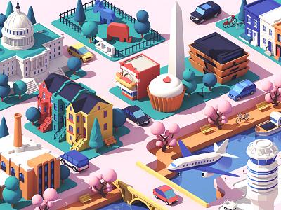 Lyft / Washington DC washington dc washington town city buildings isometric 3d c4d illustration