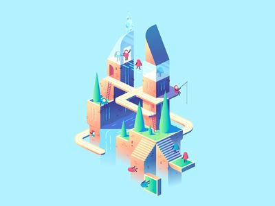 Floating World buildings city world floating island isometric illustration