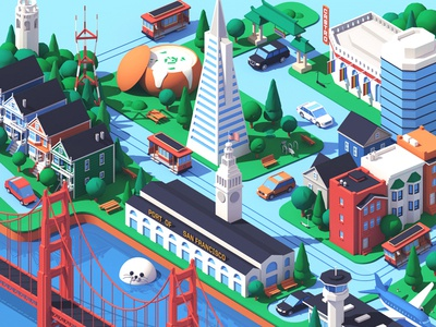 Lyft / San Francisco california sf san francisco usa city isometric 3d c4d illustration