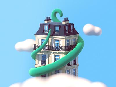 Parisian building parisian paris building c4d 3d illustration