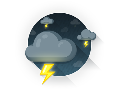 Thunderstorm clouds dark flat gradient icon illustration lightnings storm thunder thunderstorm