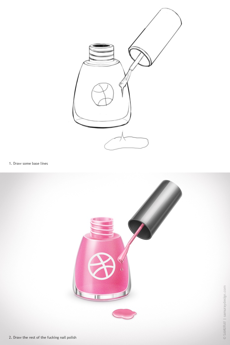 Nail polish dribble attach