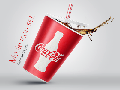 Coca-Cola icon. Movie icon banner. coke icon movie set cinema release banner advertise poster coming soon red straw freebies free 21 july coca-cola photoshop